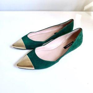 Goodwill-bound! SHOEMINT Emerald Suede Flats